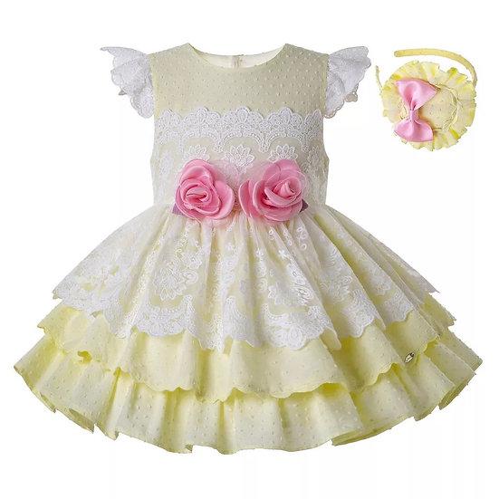 Платье хлопок желтое с цветами вар.2