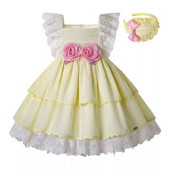 Платье хлопок желтое с цветами вар.1