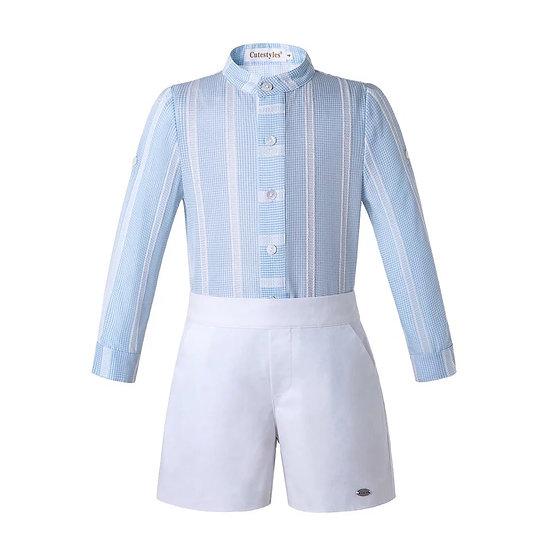 Комплект небесно-голубая рубашка и белые шорты на мальчика