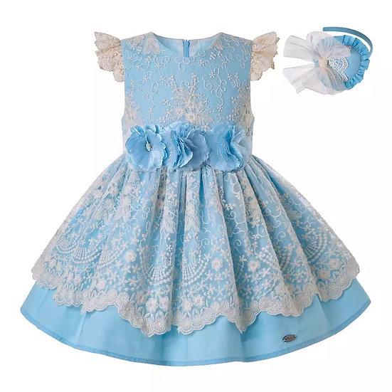 Платье хлопок небесно-голубое с цветами вар.1