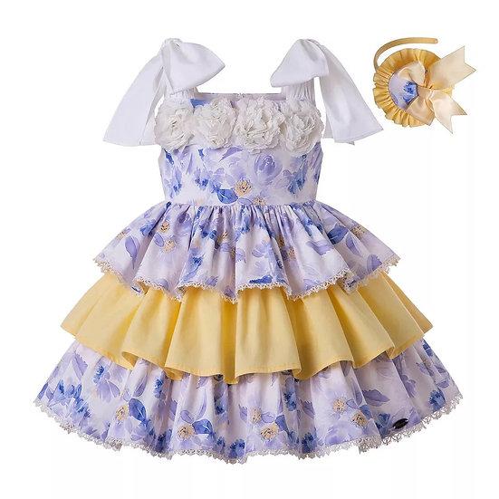 Платье цветочное на брительках для девочки