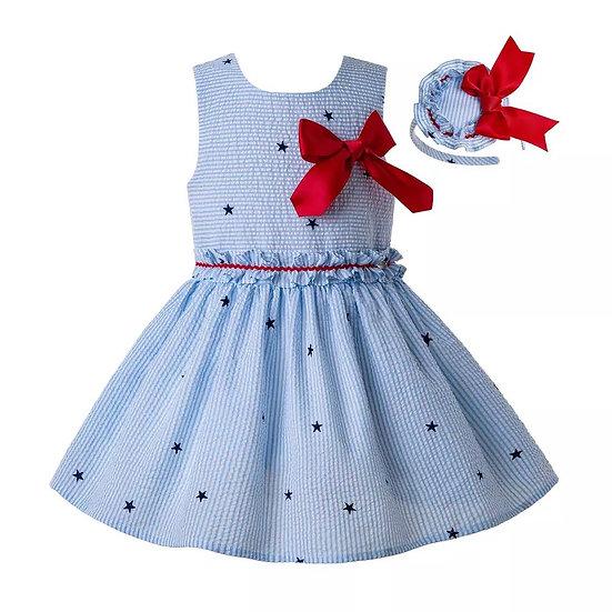 Платье летнее небесно-голубое со звездами