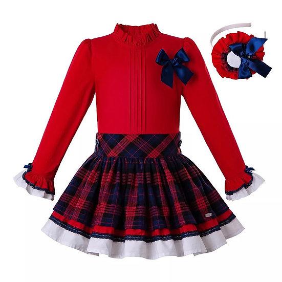 Комплект красная блуза и юбочка в красно-синюю клетку для девочки