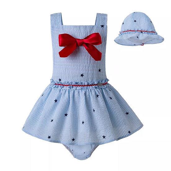 Комплект небесно-голубой со звездами для малышки