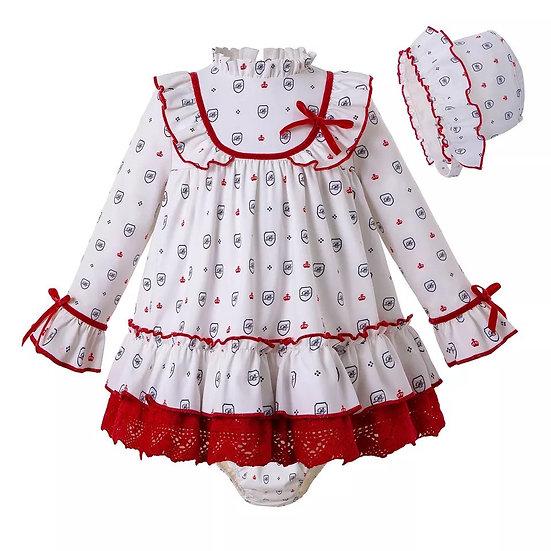 Платье белое с красным кружевом для малышки