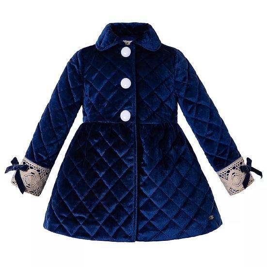 Пальто синий вельвет для девочки