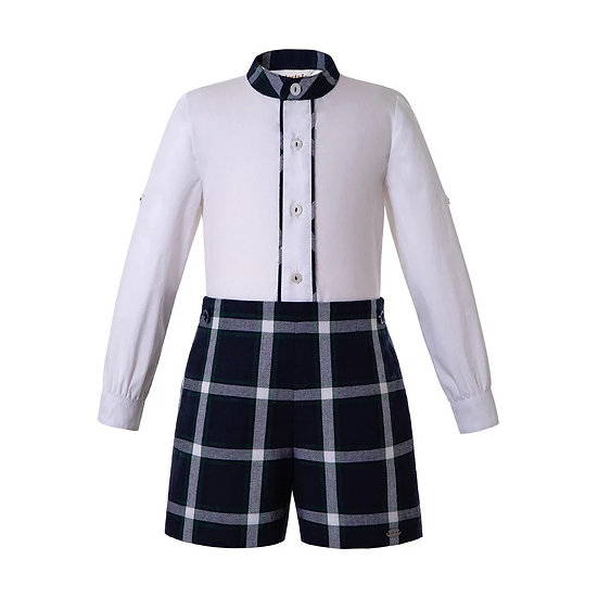 Комплект рубашка белая и шорты темно-синяя клетка