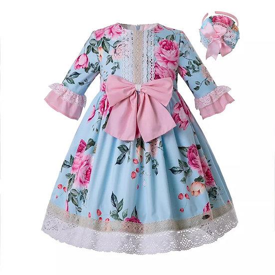 Платье цветочное небесно-голубое с розовым бантом