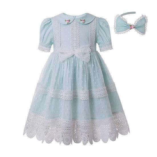 Платье мятное кружевное для девочки