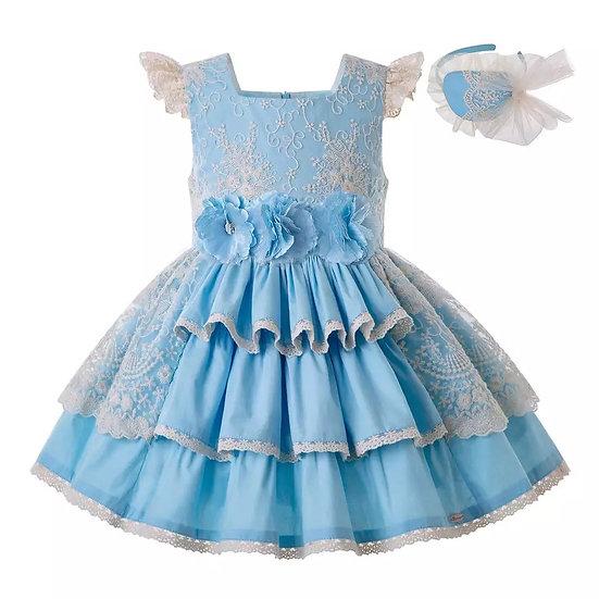 Платье хлопок небесно-голубое с цветами вар.3