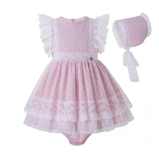 Платье кружевное розовое для малышки