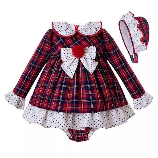 Платье Помпоны для малышки с чепчиком