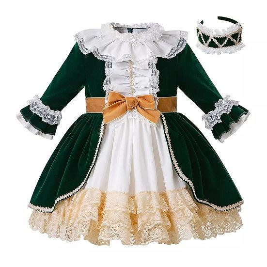 Платье Королевское зеленый бархат