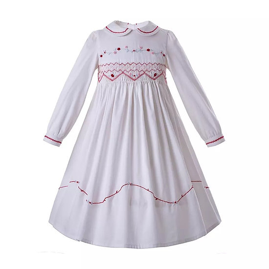 Платье винтажное белое с красном вышивкой