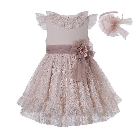 Праздничное летнее платье с кружевом для девочки