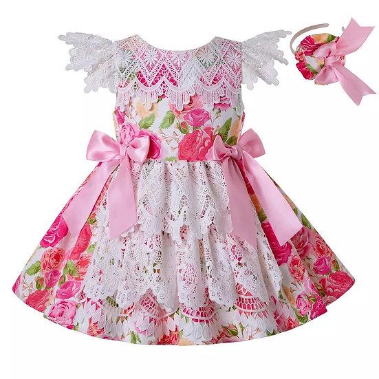 Платье цветочное с кружевом вар.1