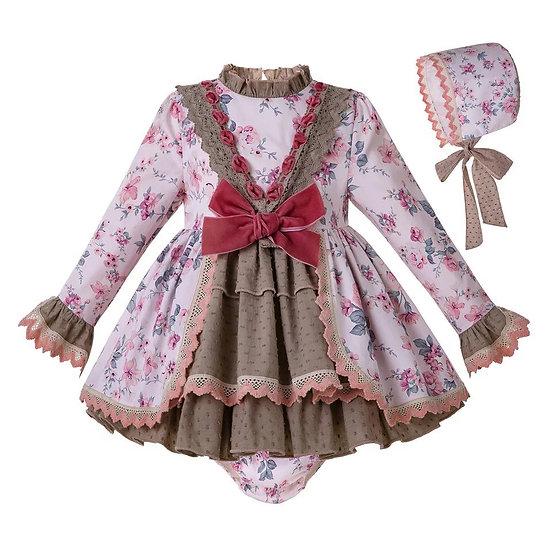 Платье цветочное для малышки с чепчиком