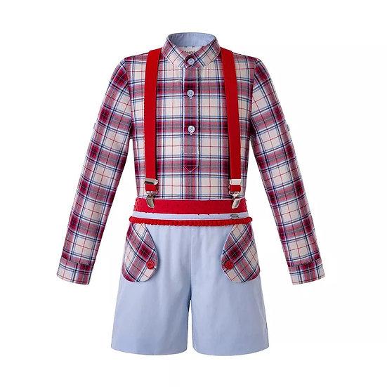 Комплект Клетка для мальчика рубашка и шорты на подтяжках