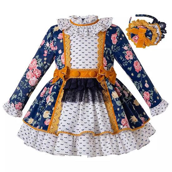 Платье синее цветочное с кружевом