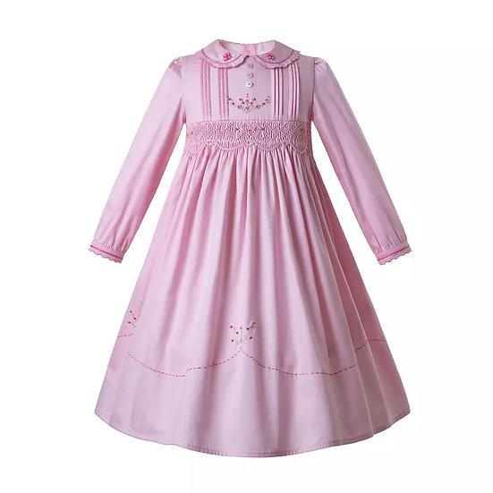 Платье винтажное розовое с длинным рукавом