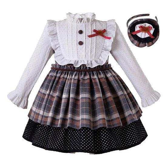 Платье в клетку с рюшами для девочки