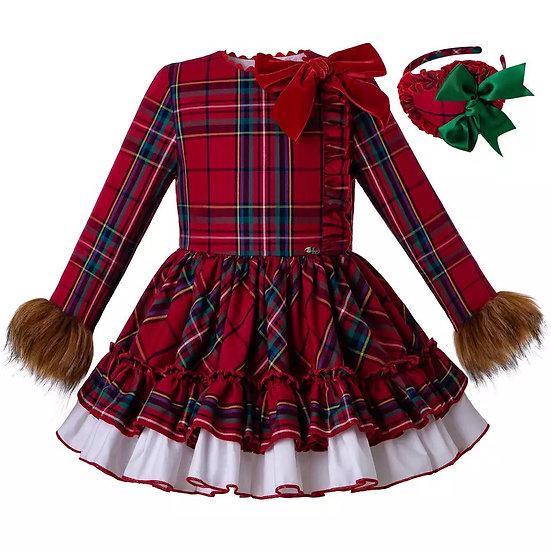 Платье Рождество с мехом для девочки