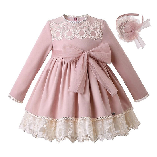 Платье для девочки пудровое