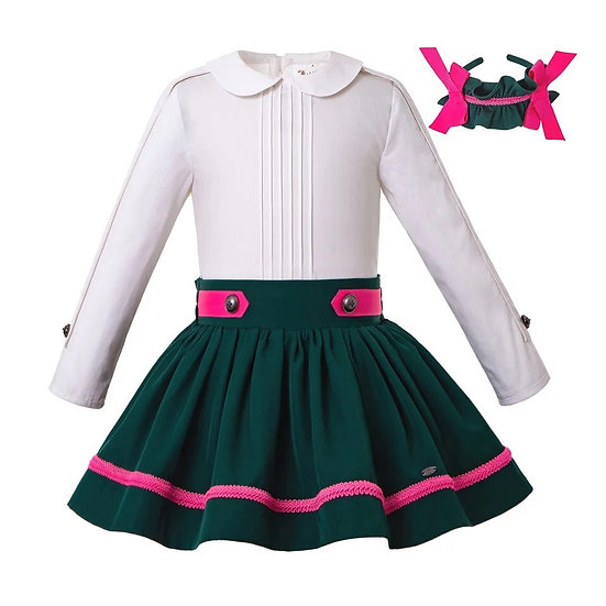 Комплект белая блуза и темно-зеленая юбочка