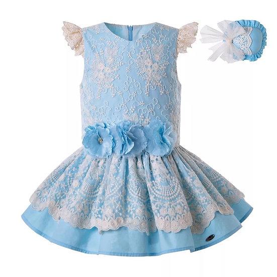 Платье хлопок небесно-голубое с цветами вар.2