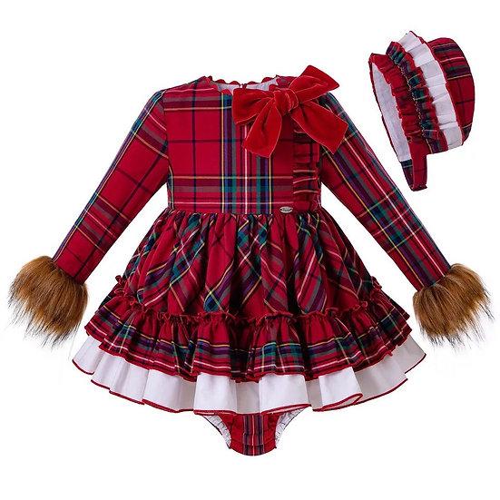 Платье Рождество с мехом для малышки с чепчиком