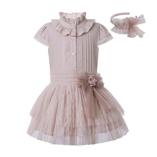 Комплект летний кружевная юбочка и блуза для девочки