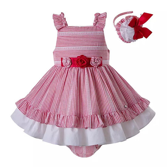 Платье розовое в полоску с оборками для малышки