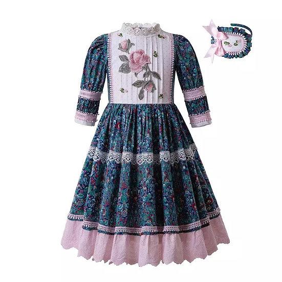 Платье винтажное сине-зеленое