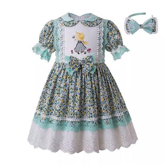Платье цветочное мятное для девочки