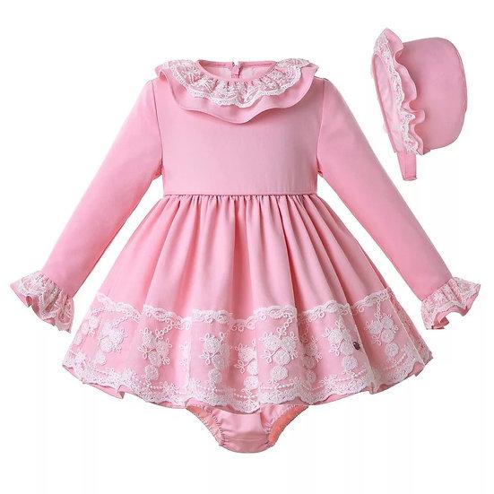 Платье розовое с кружевом для малышки