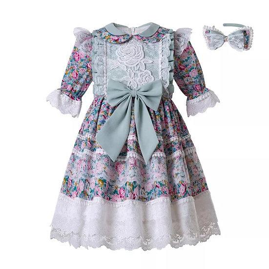 Платье винтажное цветочное с кружевом вар.2
