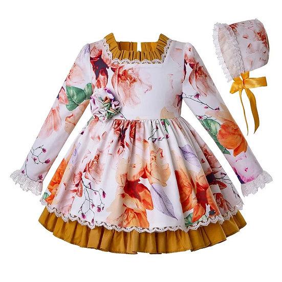Платье Осень для малышки с чепчиком