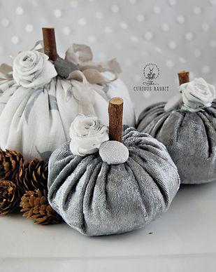 Handmade Pumpkins - Silver Linen & Velve
