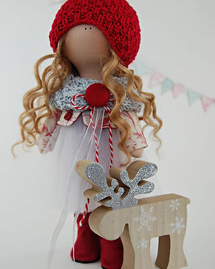 Christmas Doll with Glittered Wood Reind
