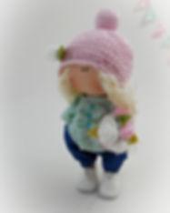 Handmade Tilda Doll in jeans & flowers -