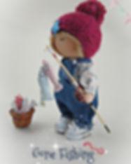 Handmade Tilda Doll Fishing Boy - side.j