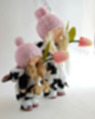 Handmade Doll in Cow Onesie - together.j