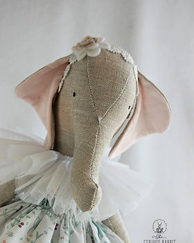 Handmade Linen Elephant in Blue dress.jp