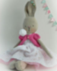 Handmade Rabbit in gold spot dress - sit