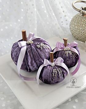 Trio of Crushed Velvet Pumpkins - purple