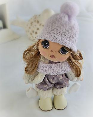 Handmade Painted Face Doll - purple - lo