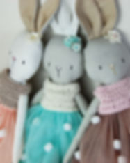Handmade Rabbit in Pompom dress - three_