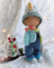 Handmade Boy Doll in snowman hat - all2.