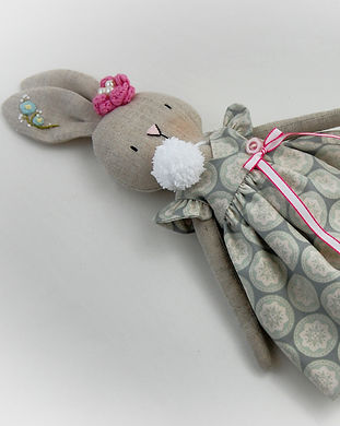 Handmade Linen Rabbit in wrap dress - fu