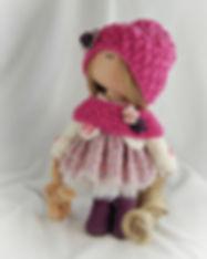 Handmade doll with Rabbit - Pink & Purpl